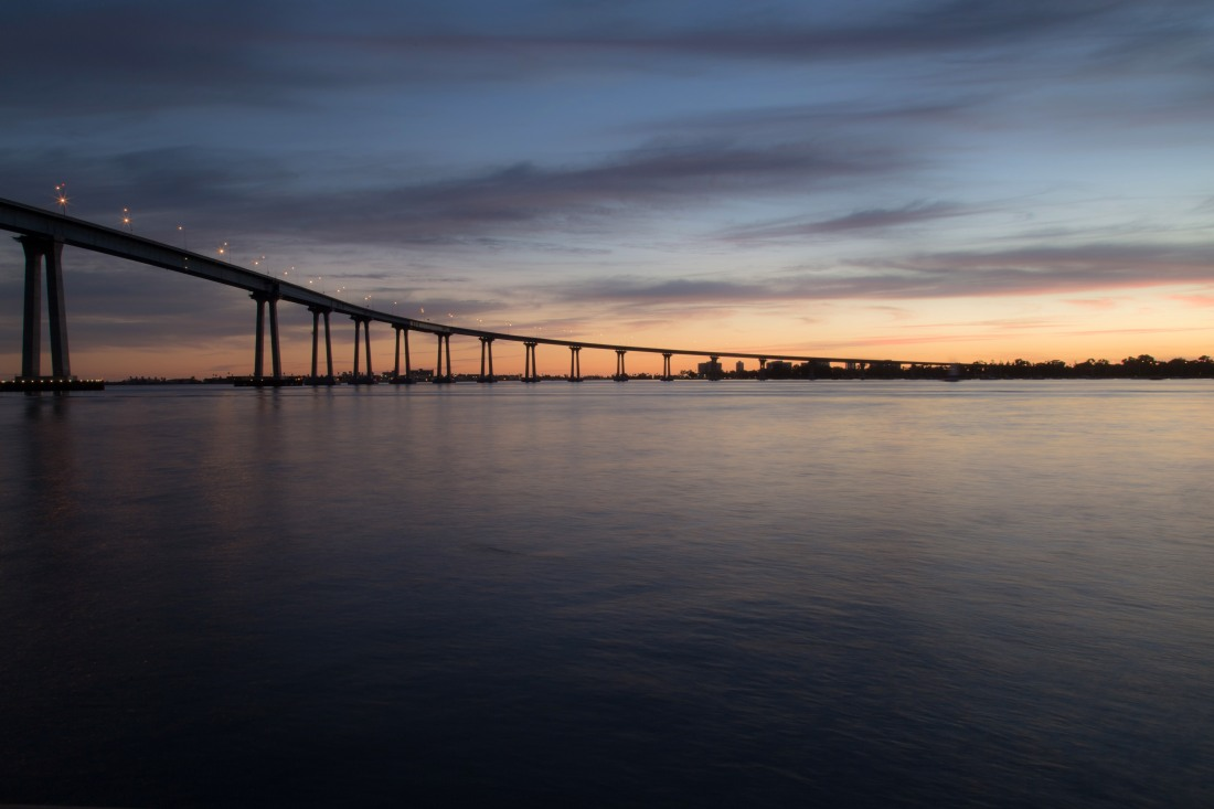 Coronado Bay Bridge at sunset