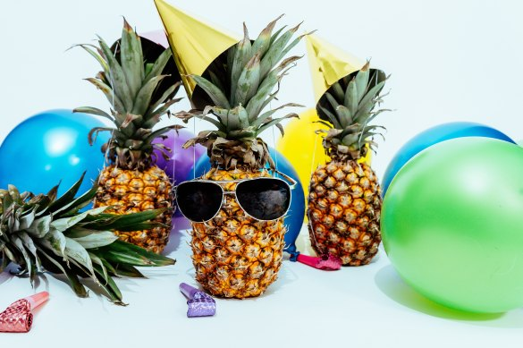 Pineapples with party hats